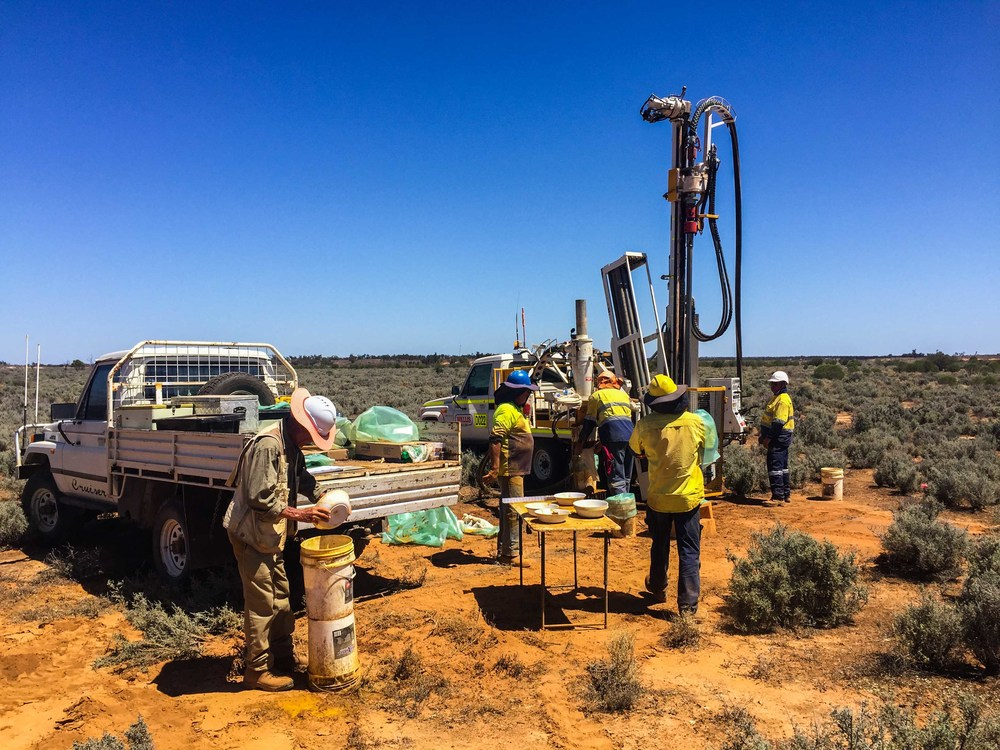 Drilling at the Copi North high-grade heavy mineral sands deposit.