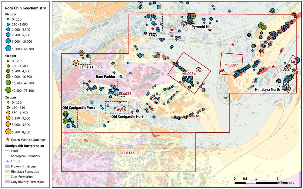Figure 1.  Thackaringa base and precious metal targets defined by regional rock chip geochemistry (Pb, Cu & Zn), and quartz–gahnite outcrops which are a key vector for Broken Hill style ore deposits