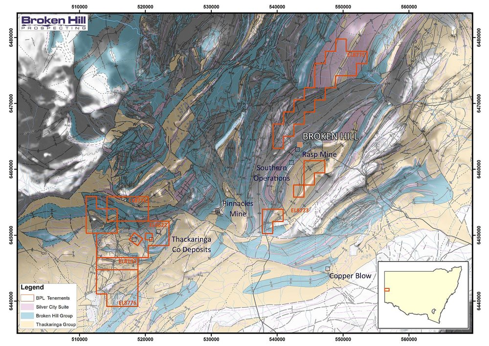Figure 2. BPL's Broken Hill district tenements superimposed on a map of key geological Groups and the location of operating mines and advanced prospects. The background is a total magnetic intensity 1VD image