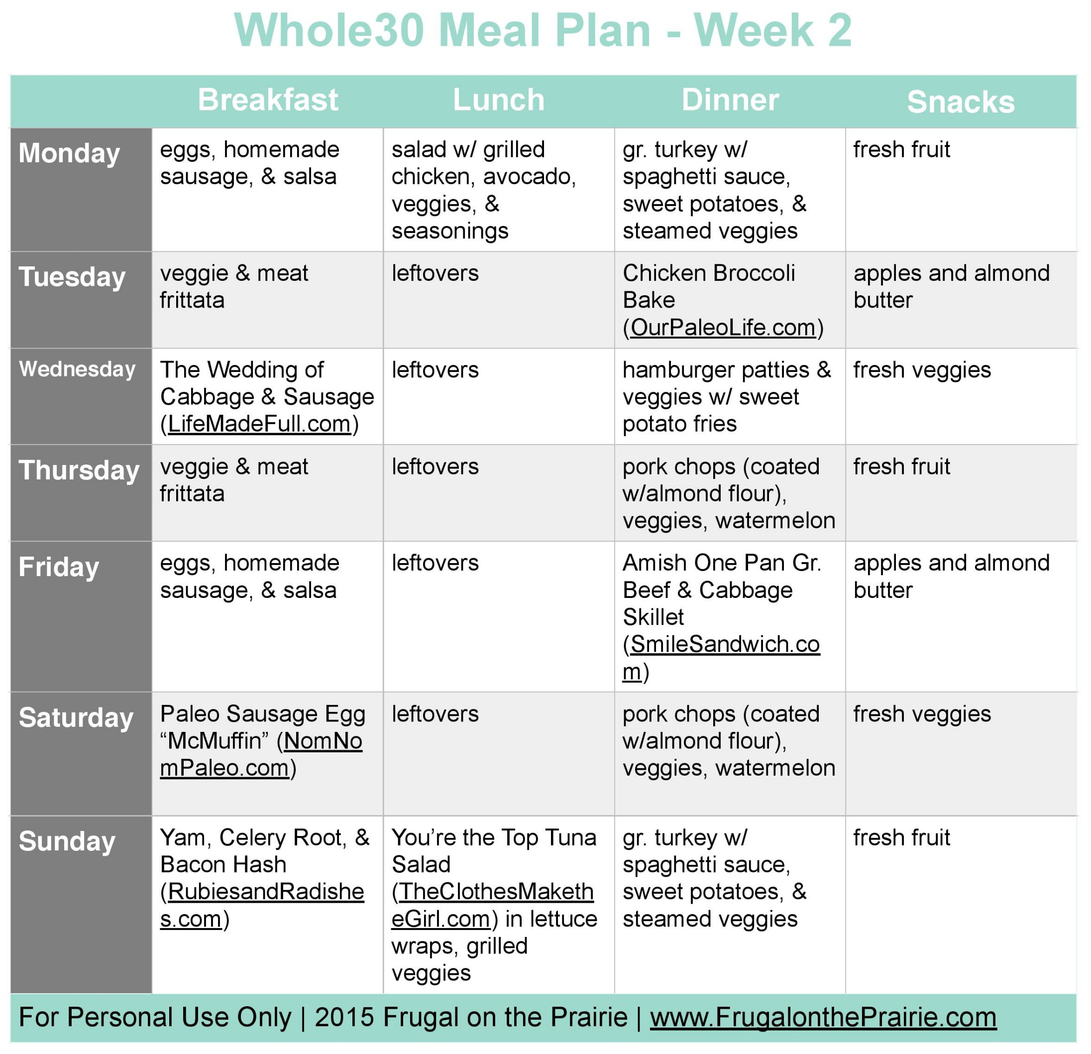 The Busy Person's Whole30 Meal Plan - Week 2 — Allison ...