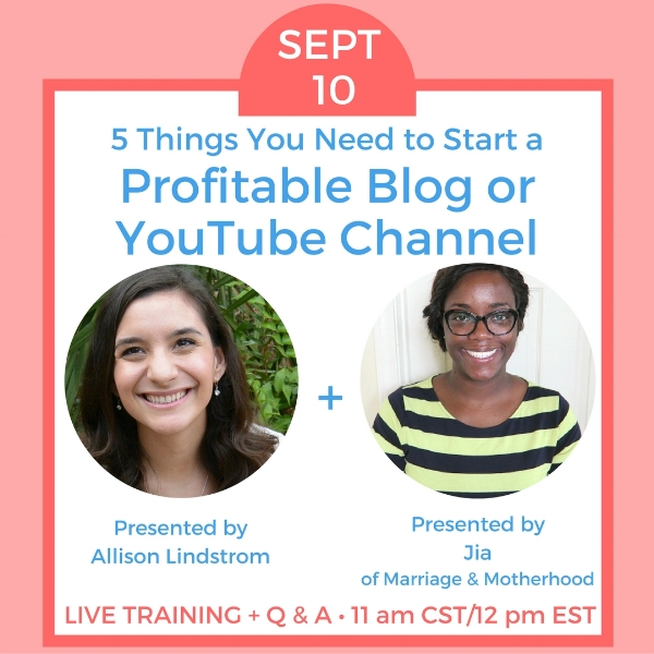 Worried about how to make a YouTube channel or blog? We're hosting a free webinar about the 5 things you need when starting a blog or channel. Register now so you don't miss it!