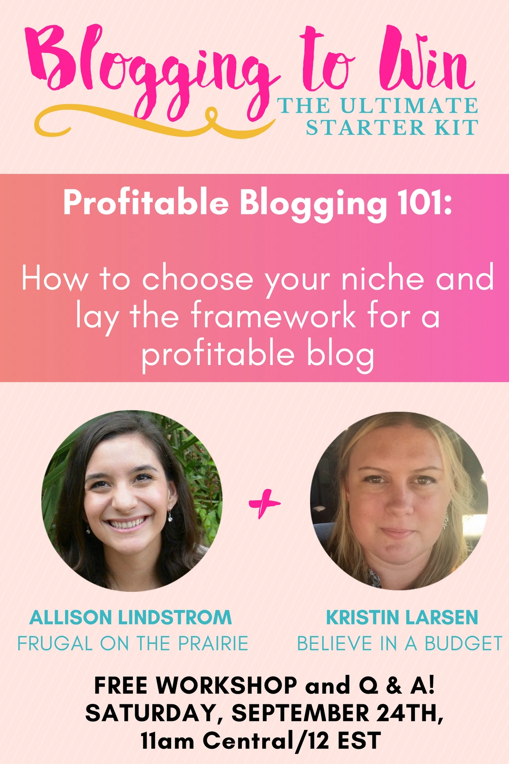 It seems like everyone has a blog nowadays, but you want to build a profitable blog right? My biz bff Kristin (Believe in a Budget) and are hosting a free webinar about laying the framework for a money-making blog and narrowing your niche so you can stand out from the crowd.