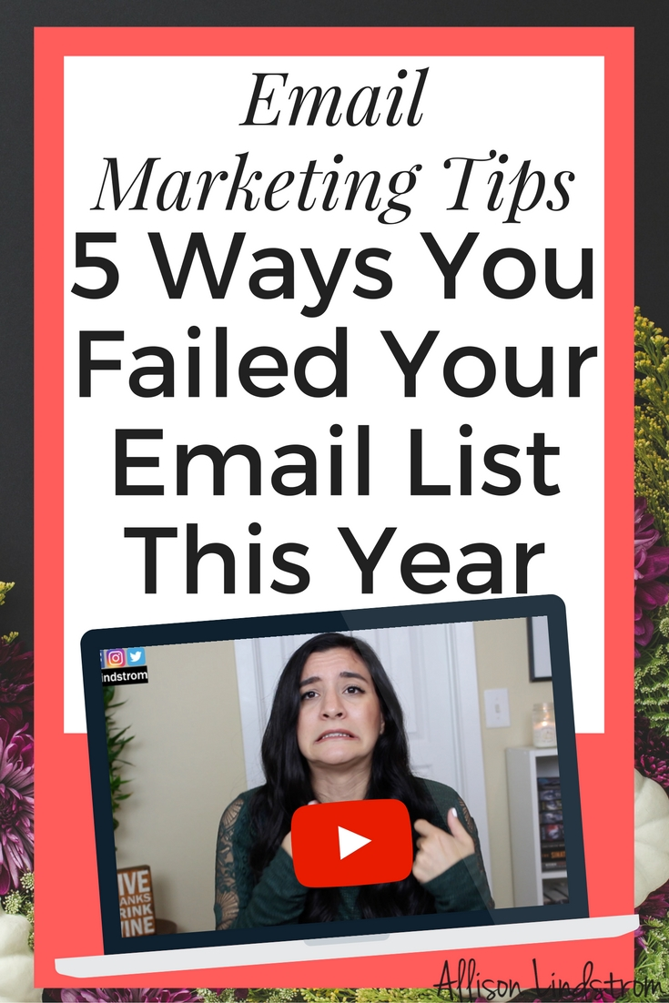 "Email Marketing Tips: 5 Ways You Failed Your Email List This Year || I've received messages from you guys saying things like, ""My list isn't growing, people don't open my emails, and I have a high unsubscribe rate. How do I fix these things?"" So today I'm talking about common email marketing mistakes AND I have a bonus workbook for you. Just check out the link below to get your copy."