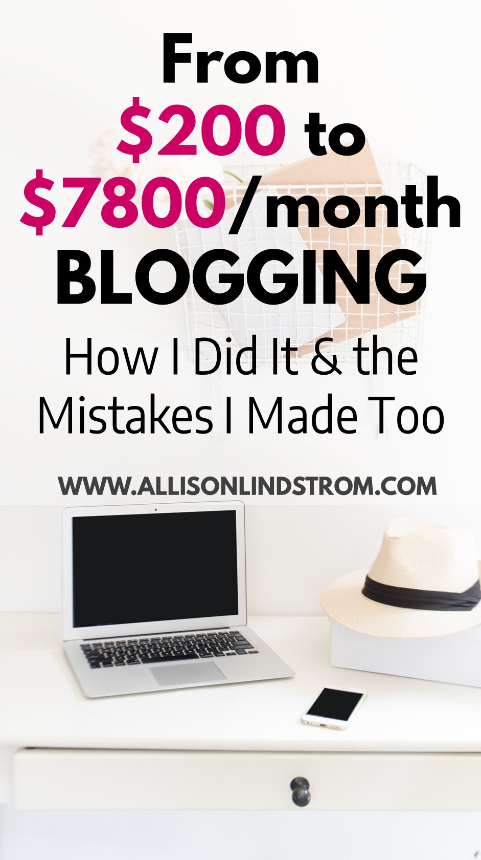 "I have such a special blogging income and expenses report to share this month! My business hit a huge milestone this August with over $7,800 in monthly revenue and to celebrate, I'm sharing details about ""make money blogging"" journey, what I did right, what I did wrong, and what this means for the future of AllisonLindstrom.com!  ● $7,800/month Blogging ● The Special Income & Expenses Report of My Blogging Milestone ● My Make Money Blogging Journey"