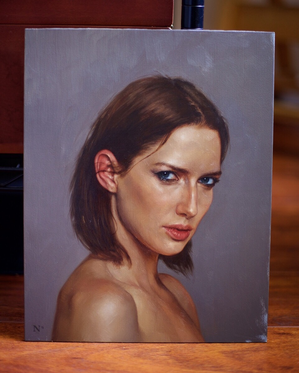 "portrait study of Sarah, 11"" x 14"", oil on panel. 2016"
