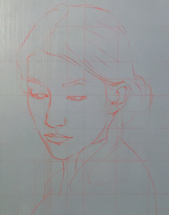 preliminary sketch on grey gesso