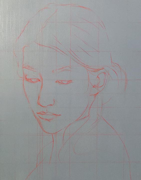 preliminary sketch on grey gesso