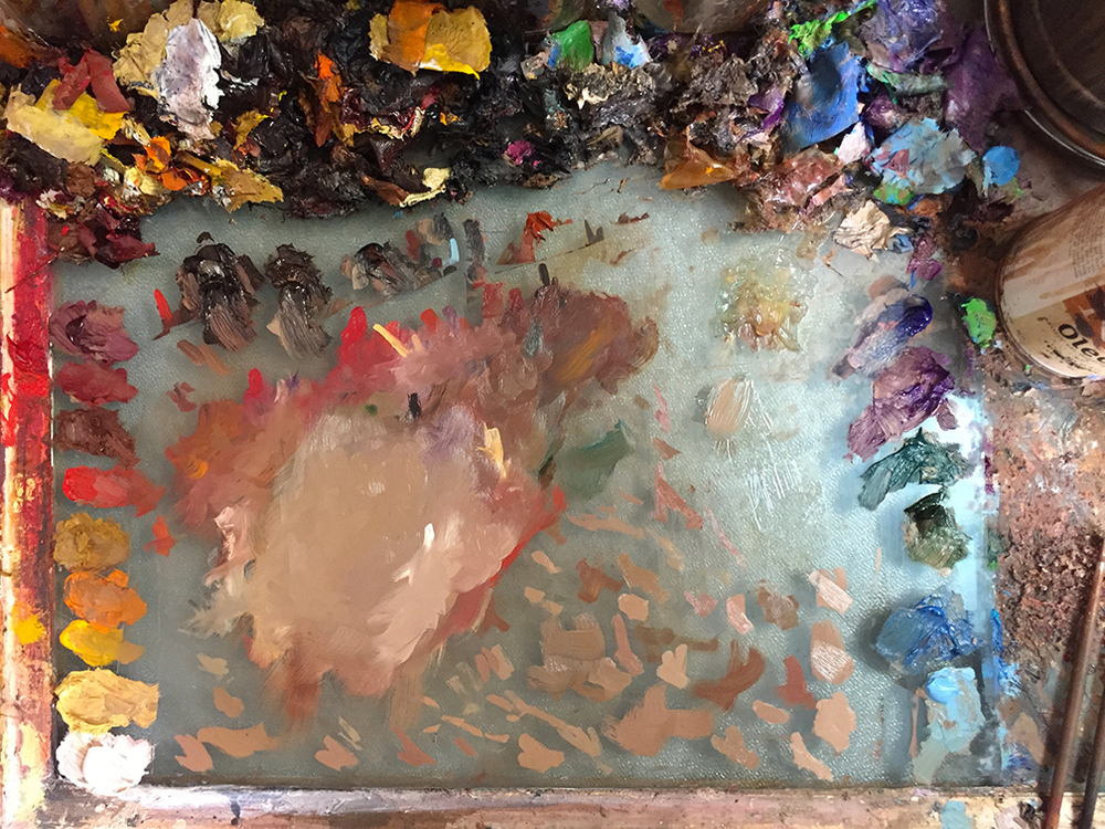 messy pallet at the end of the day. Oleogel is in the top right corner.
