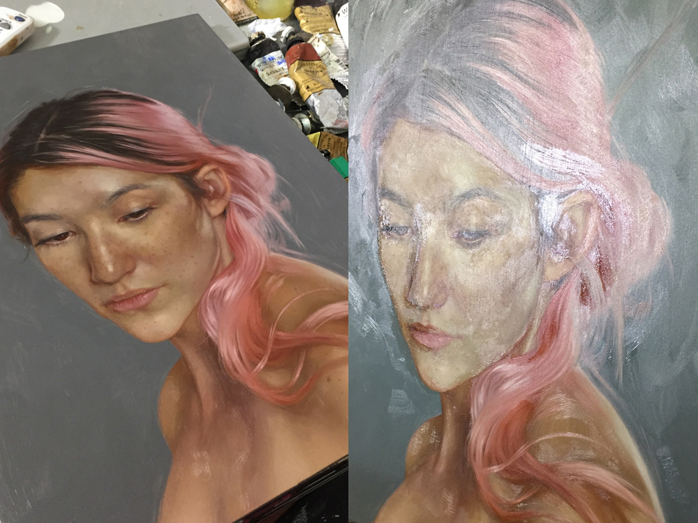 pre-glazing [left] v. first pass of glazing [right] (tilted into the glare so you can see the spots I hit)