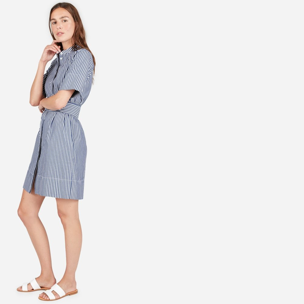 Cotton Collarless Belted Shirt Dress | Everlane
