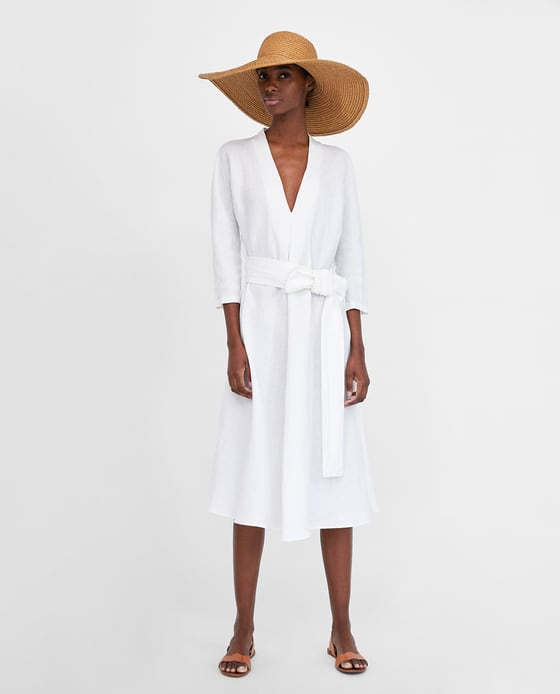 Linen Dress with Belt | Zara