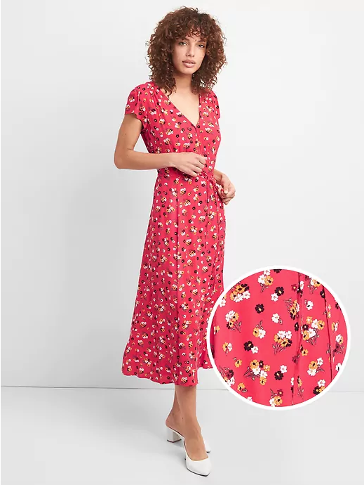 Floral Print Midi Wrap Dress | GAP