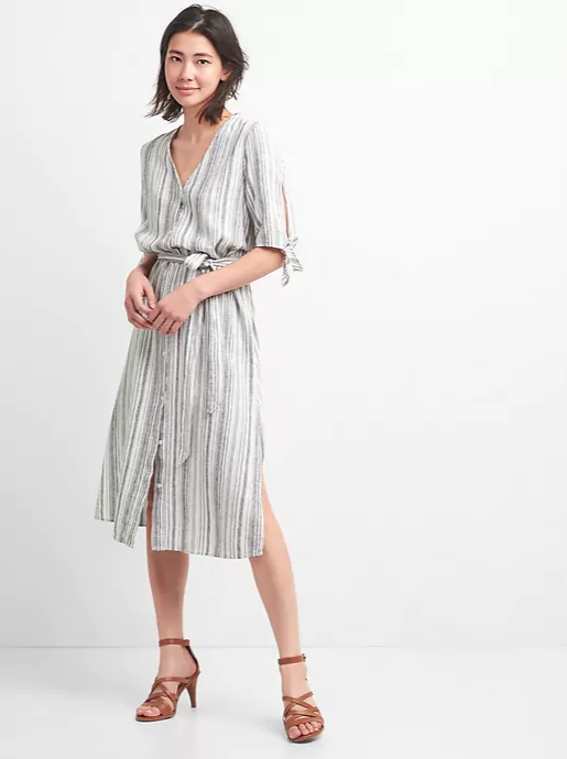 Stripe V-Neck Midi Shirt Dress