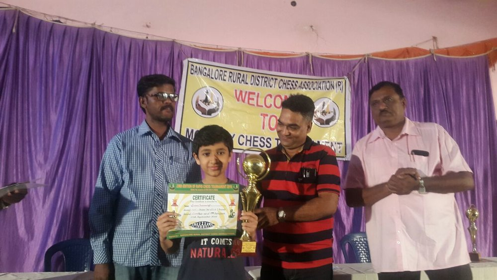 Srihari Padman places 1st in the 23rd Edition Rapid Chess TOurnament - 2016