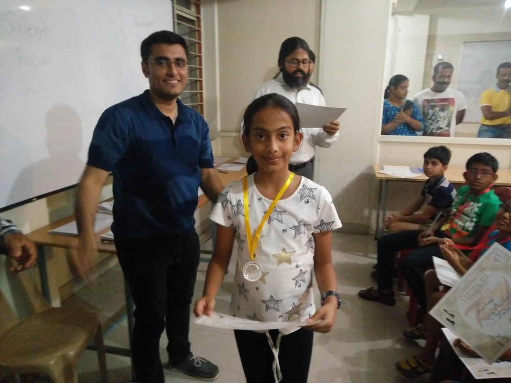Shreya places 2nd in Quad 3 of the ZugZwang Monthly Tournament of February - 2017