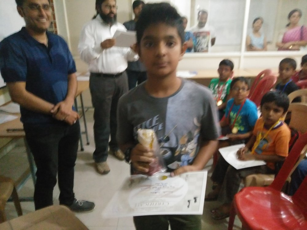 Samarth places 2nd in Quad 1 of the ZugZwang Monthly Tournament of February - 2017