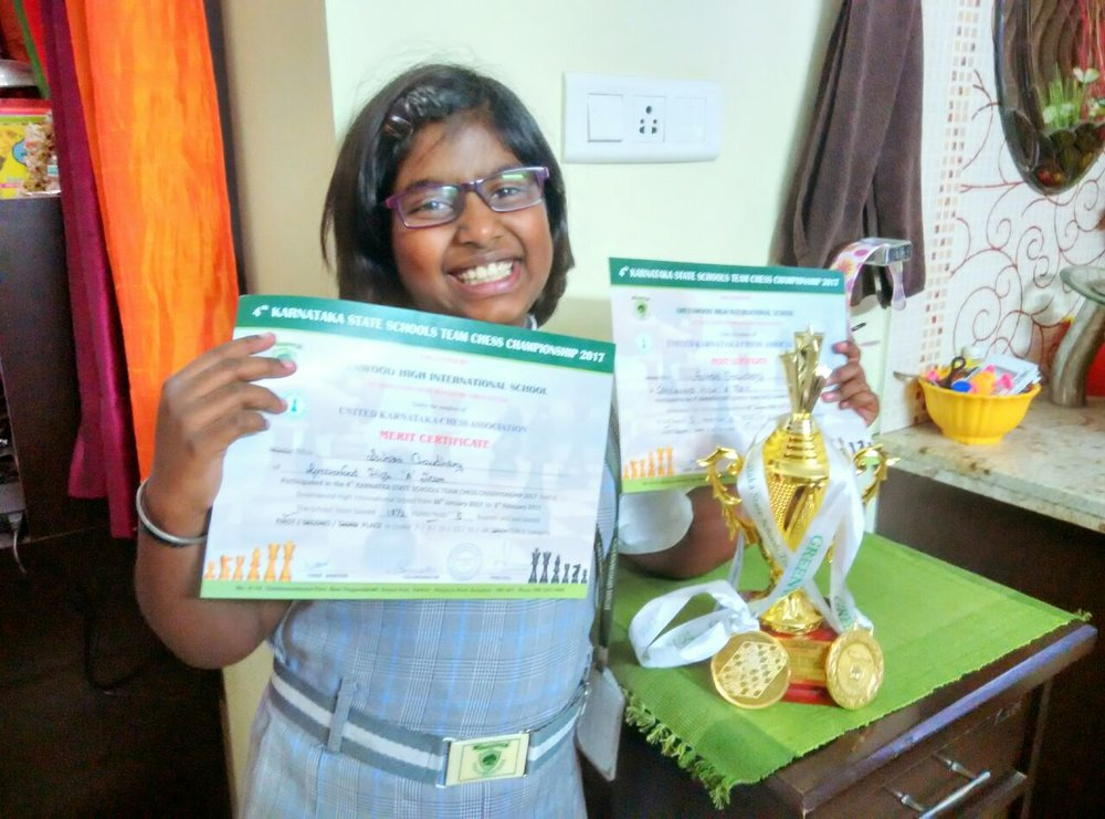 Suhani Chaudhary places 1st in the  Karnataka State Schools Team Chess Championship - 2016