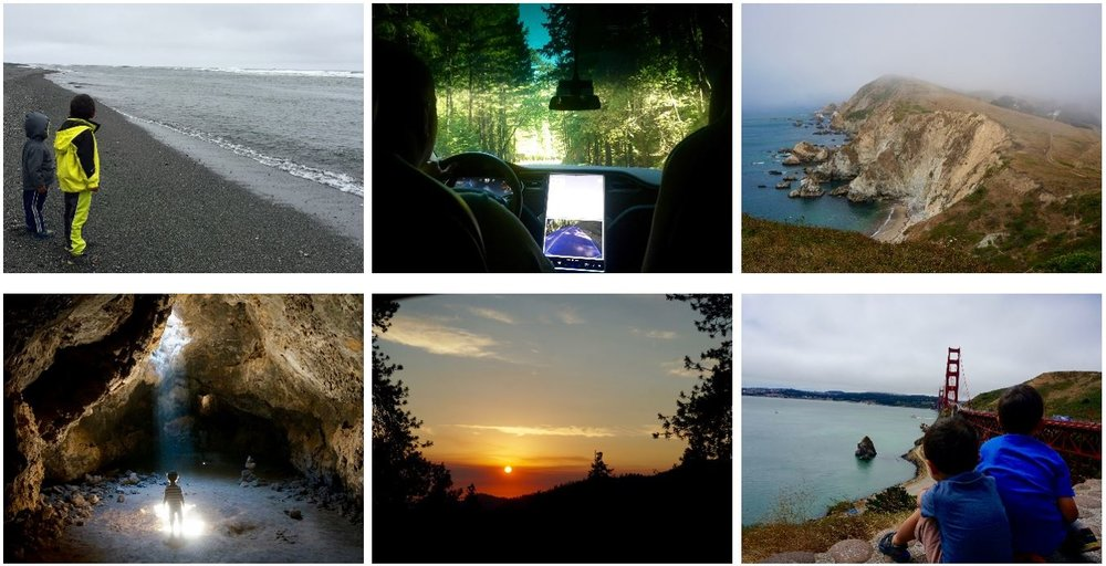 Pacific near Requa (CA), Redwoods, Pt. Reyes National Seashore, Lava Tube (Mojave), Golden Gate Bridge