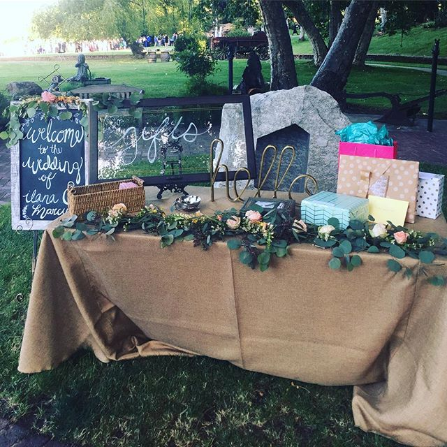 Welcome & Gift Tables #weddingday #rusticdecor #americana #vintageweddings #rusticdecor #wine #winery #weekend #theknot #weddingday #weddingdress #gift #builtnotbought #love #malibu #losangeles #rusticevents #HisandHersRentals #garland