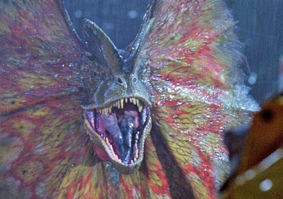 Fun fact: a dilophosaurus is not a real dinosaur. Stevie Spielbergee made it up, cause he's God.