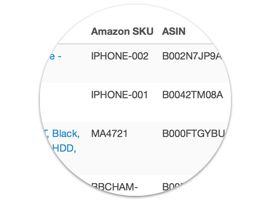 screenshot of brightpearl indexing products by amazon SKU