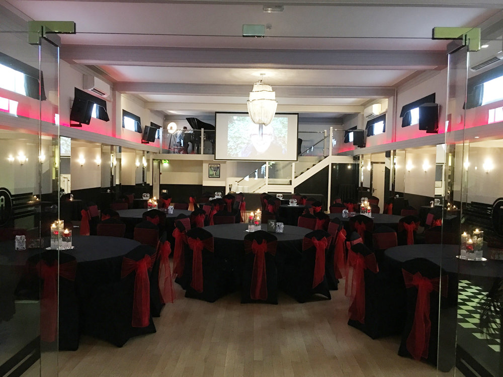 Wake at The Arlington Ballroom, Red & Black Decor