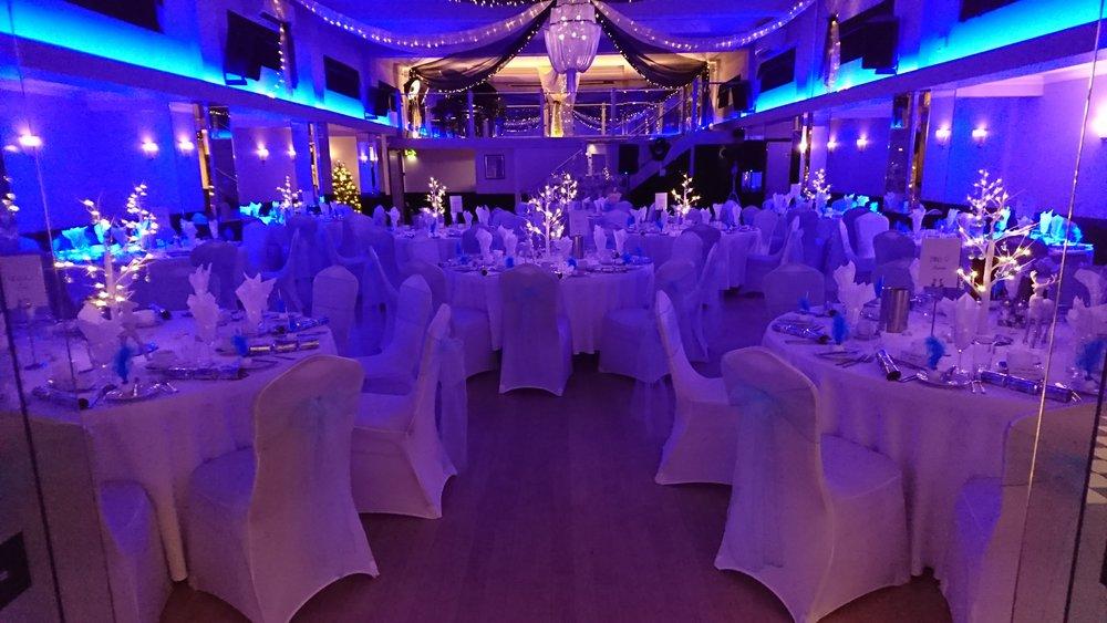 Inside the Arlington Ballroom Blue Themed Event