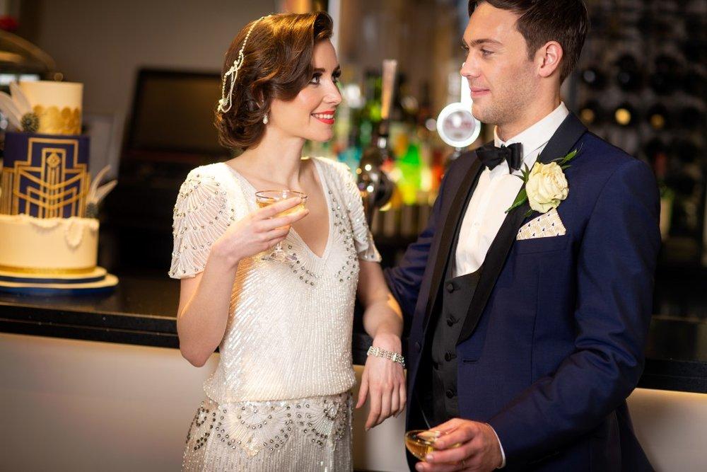 Bride and Groom, Art Deco Wedding, The Arlington Ballroom Essex