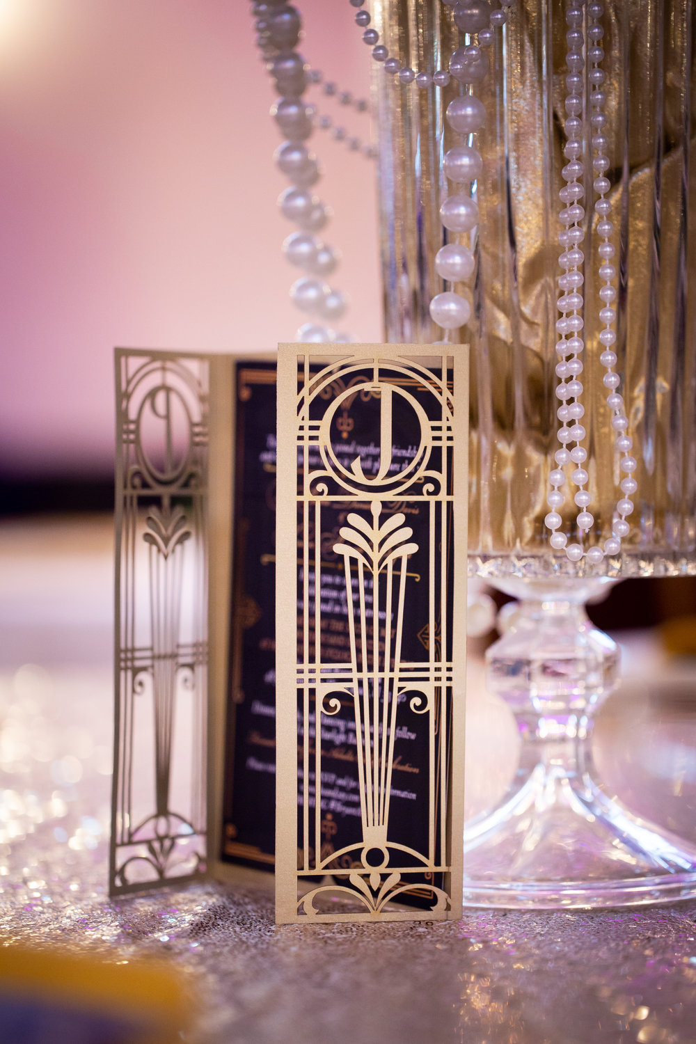 Art Deco Wedding Table Holders at The Arlington Ballroom