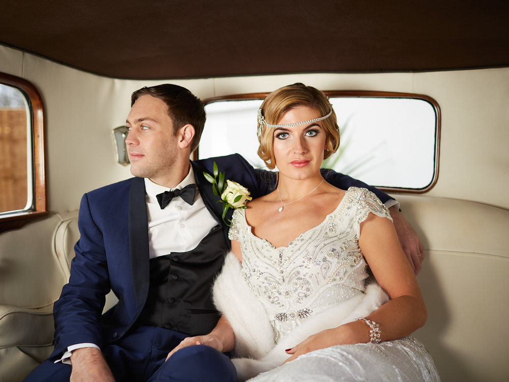 Couple in Vintage Wedding Car, Art Deco 1920s Photoshoot