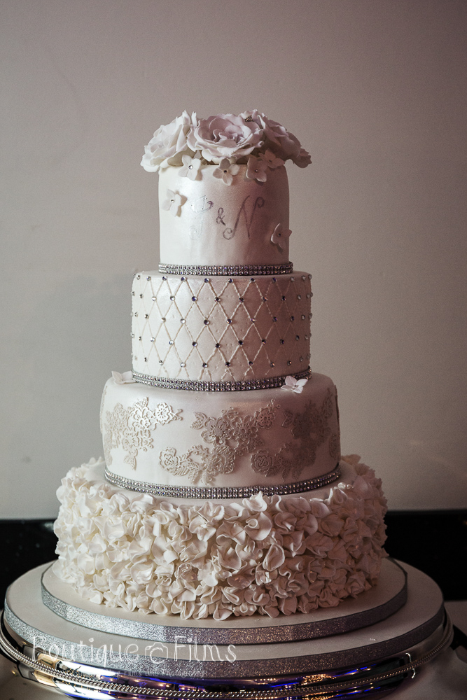 Silver & White Winter Wedding Cake