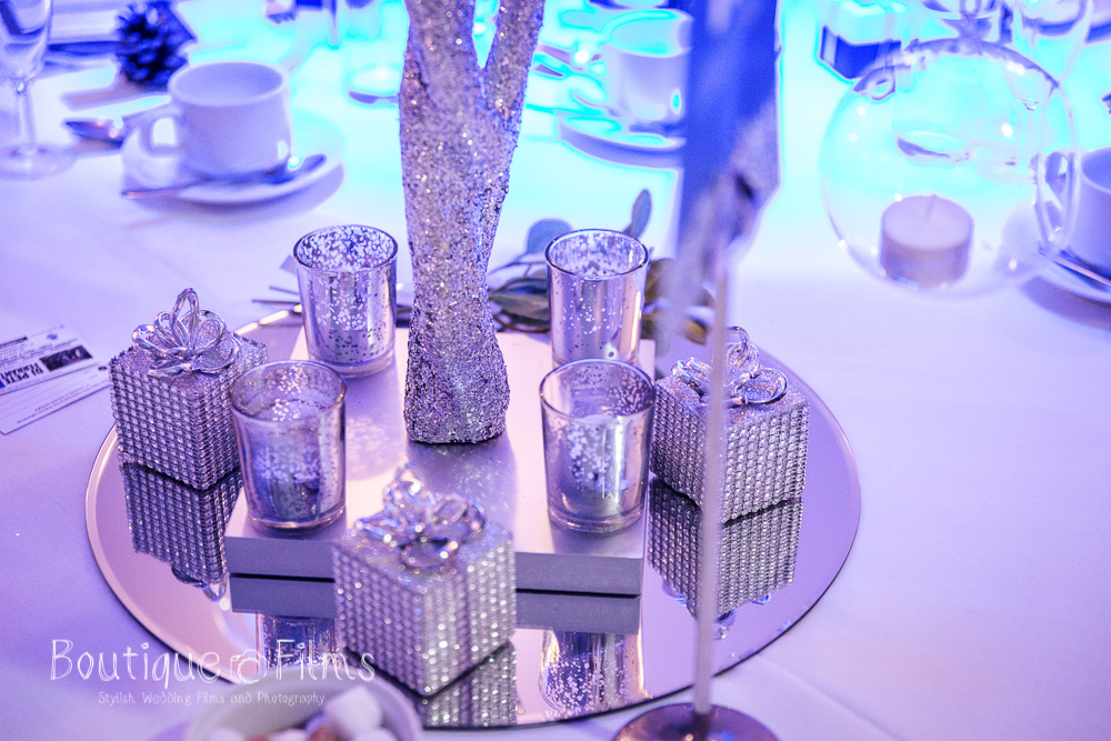Silver Winter Wedding Table Props