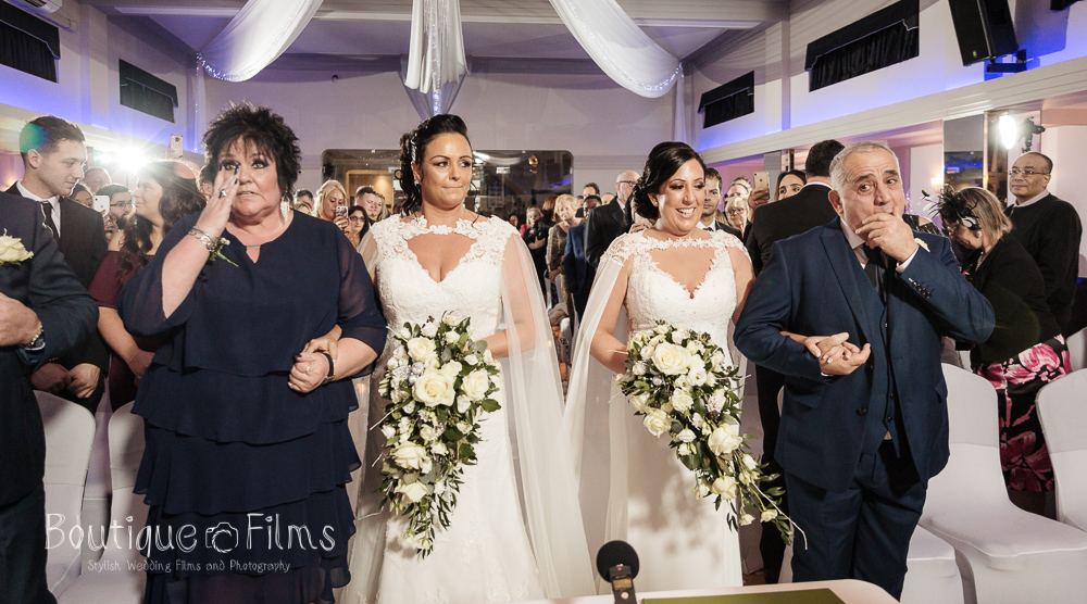 Jodie and Nicole Walking Down the Aisle, LGBT Wedding in Essex
