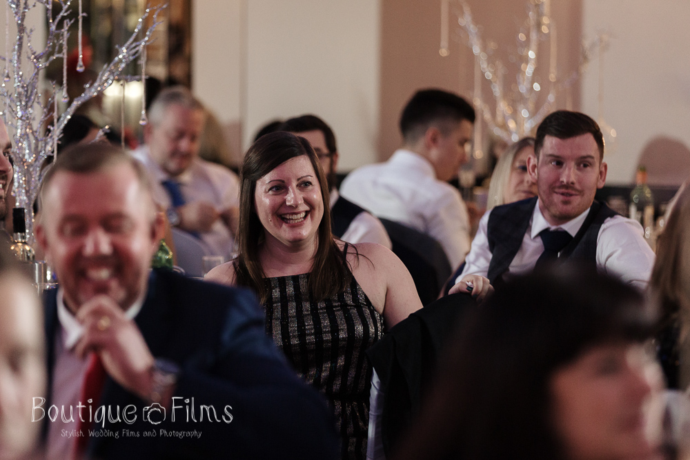 Laughing Guests at Essex Wedding
