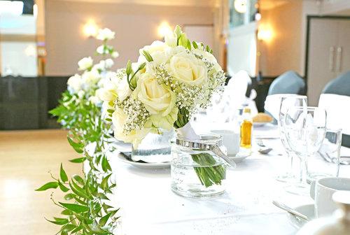 Floral Table Decoration at Wedding Reception at The Arlington Ballroom Essex