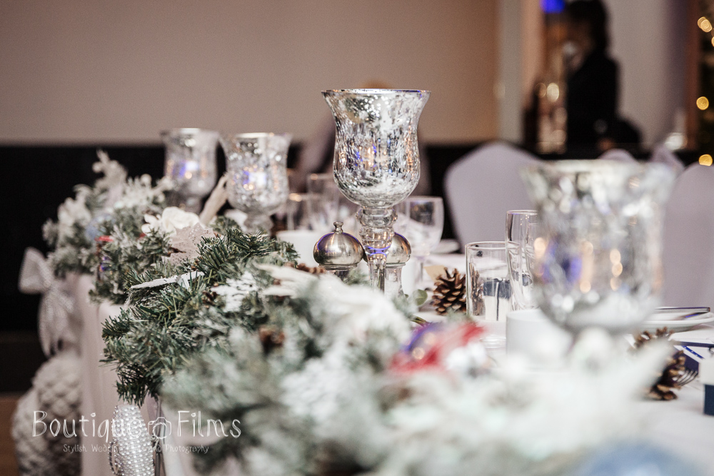 Christmas Wedding Table Decoration, Silver and Pinecones, at The Arlington Ballroom Essex