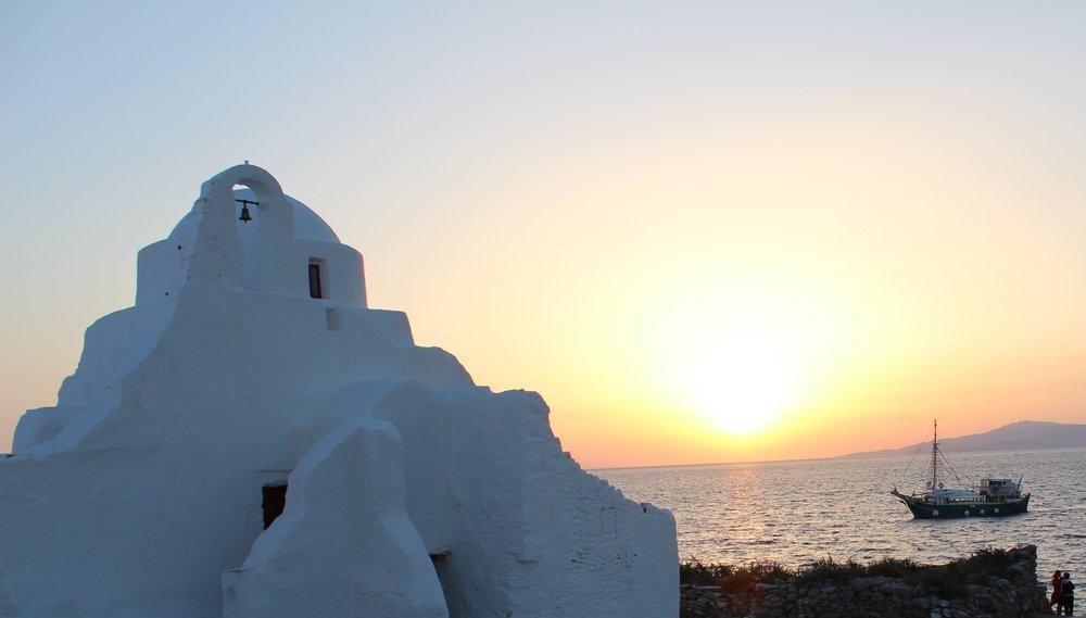 Mykonos kann Sonnenuntergang.Wie ganz Griechenland!