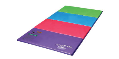 Panel Mat - The most popular size is 4' x 8' x 1 3/8'' This is a basic tumbling mat and can be folded up. It should be used only for conditioning and practicing skills that the gymnast already knows how to execute safely and properly. The gymnast should always consult with her coach before trying anything at home.