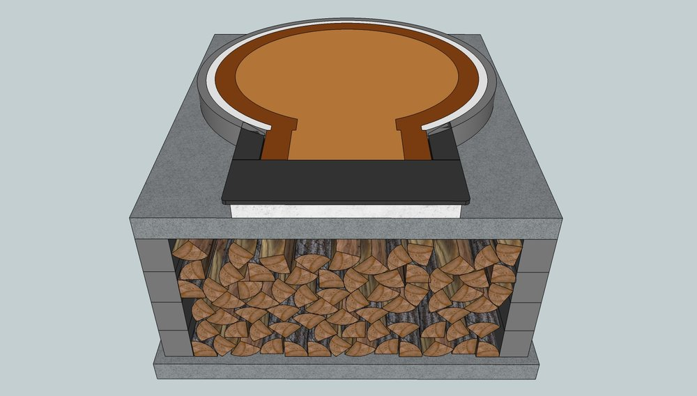 D130 Rectangular Stand Layout    This is the most common layout for building a D130 oven stand, giving you room for more than 1m³ of firewood storage space.