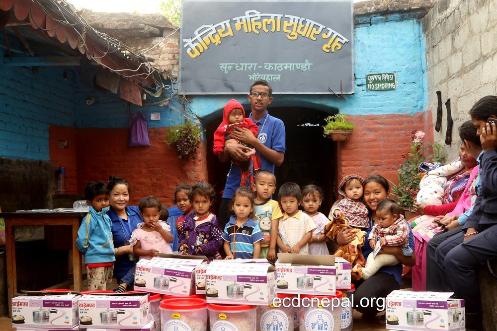 Authors Tez (Middle) & Laxmi (Right) leading distribution of Children Care Packs to Nepal prisons