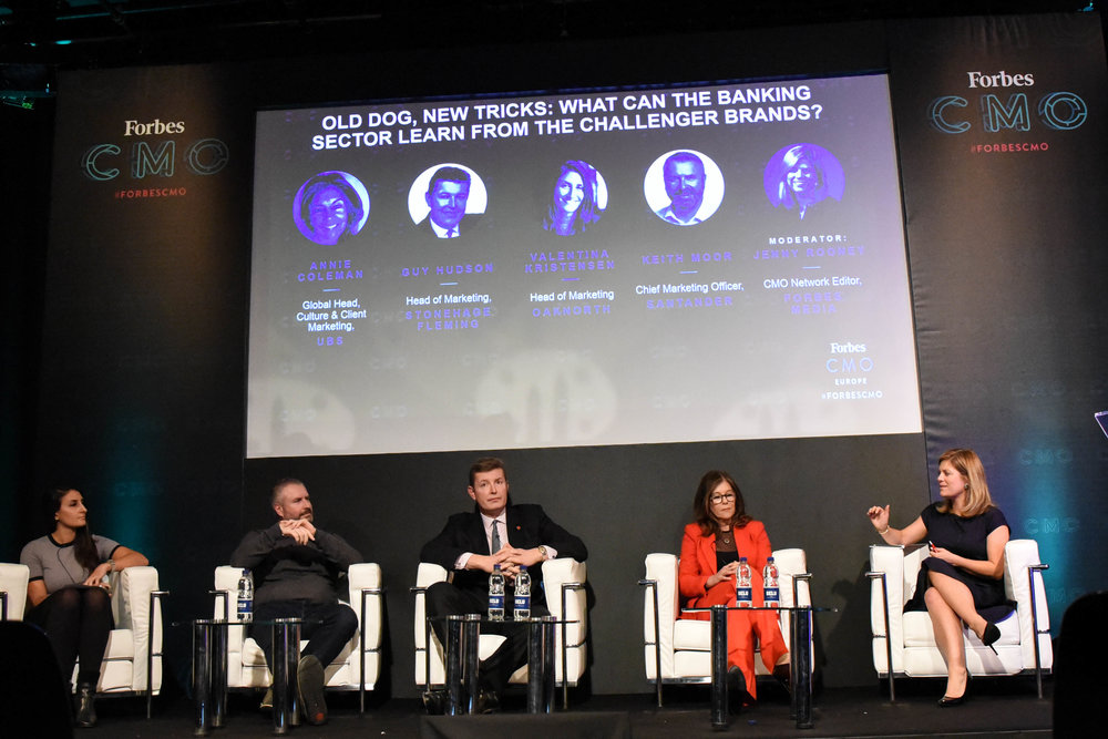 (L-R) Kriti Sharma,  Vice President, Bots and AI , at Sage and  Chief Executive Officer  at Staysafe.ai, George Porteous,  UKI Head  at Cognizant Digital Business, Dale Renner,  Founder & Chief Executive Officer  at RedPoint Global, Inma Martinez,  Partner  at Deep Science Ventures, and moderator, Parmy Olson,  Reporter  at Forbes Media;Credit: Forbes Media and Gabriella Kiss Photography;