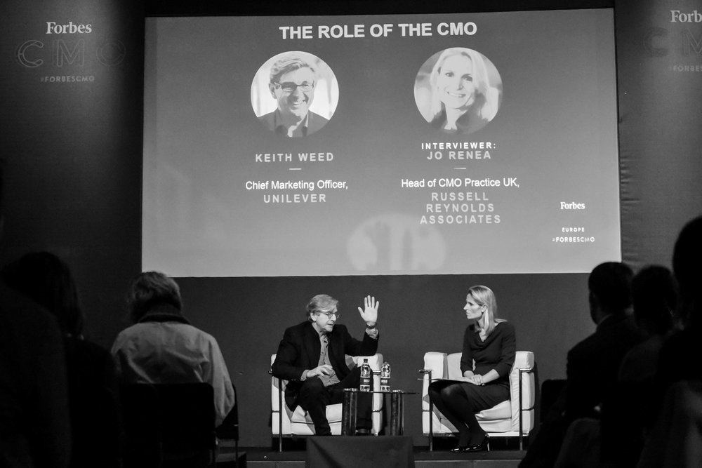 Keith Weed,  Chief Marketing Officer  at Unilever, and Jo Renea,  Head of CMO Practice UK , Russell Reynolds Associates;Credit: Forbes Media and Gabriella Kiss Photography