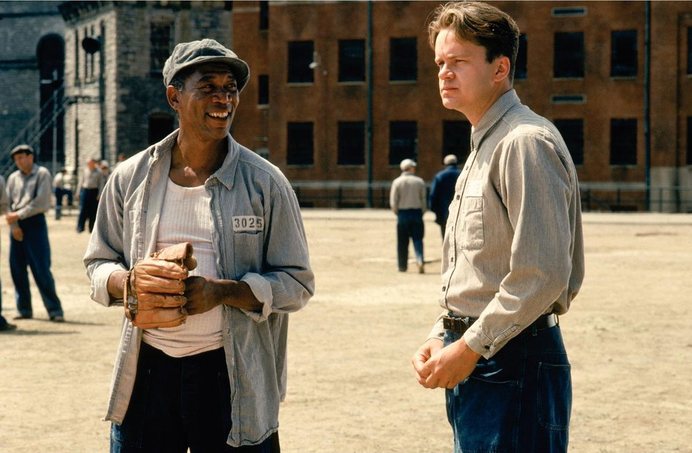 morgan freeman and tim robbins star in the shawshank redemption