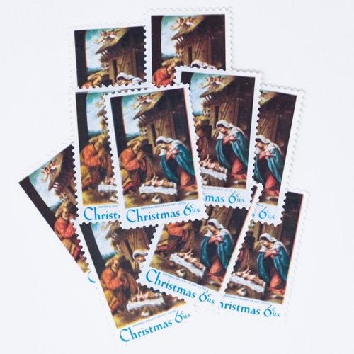 10 X 6 Cent Manger Scene Stamps DSCF3705