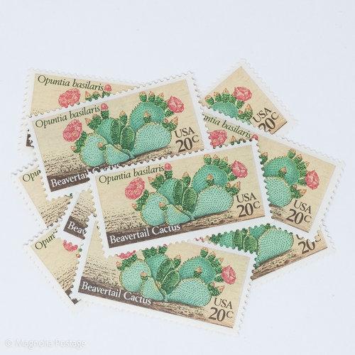 10 X 20 Cent Desert Plants Beavertail Cactus Stamps Magnolia