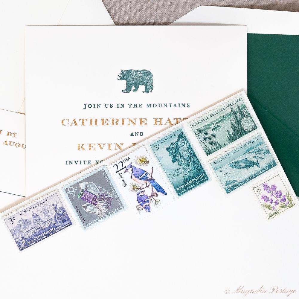 Vintage Mountain Wedding Stamps — Magnolia Postage