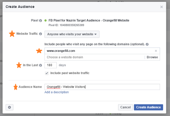 How to install custom facebook website audience.