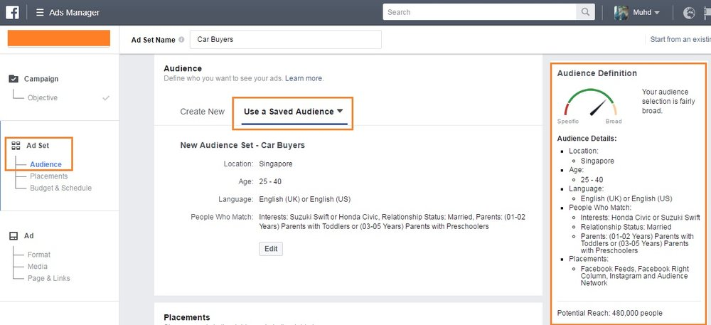 Use Saved Audience to save time when making your Facebook Ads - Singapore.