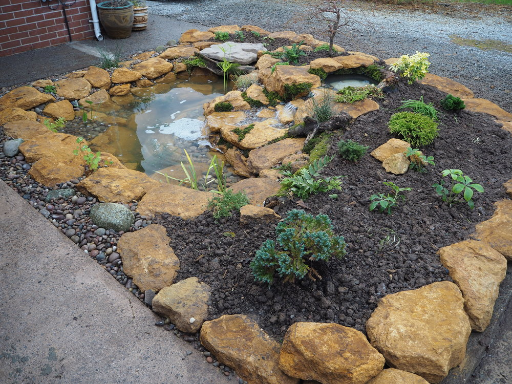 After… - A small ecosystem pond and cascading waterfall