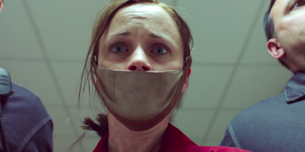 The face of fear; Ofglen is imprisoned as a 'gender traitor.' Image Credit:  SyFy